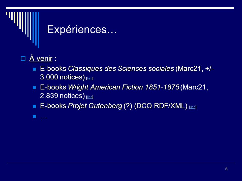 Expériences… À venir : E-books Classiques des Sciences sociales (Marc21, +/- 3.000 notices) [lien]